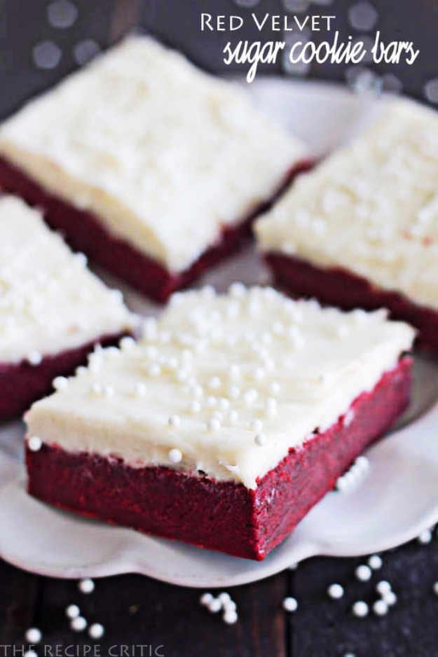 DIY Valentines Day Cookies - Red Velvet Sugar Cookie Bars With Cream Cheese Frosting - Easy Cookie Recipes and Recipe Ideas for Valentines Day - Cute DIY Decorated Cookies for Kids, Homemade Box Cookies and Bouquet Ideas - Sugar Cookie Icing Tutorials With Step by Step Instructions - Quick, Cheap Valentine Gift Ideas for Him and Her http://diyjoy.com/diy-valentines-day-cookie-recipes