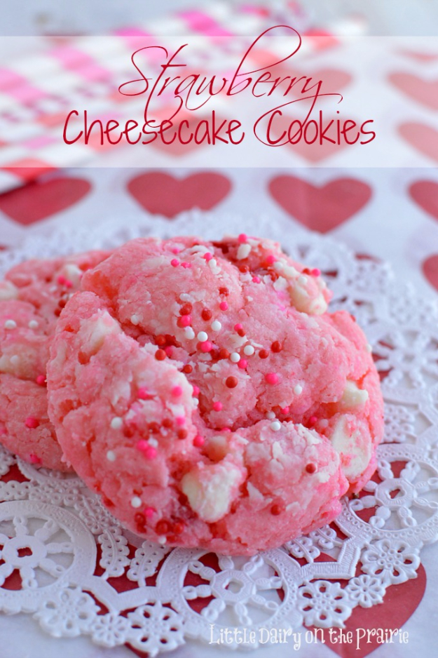 DIY Valentines Day Cookies - Strawberry Cheesecake Cookies - Easy Cookie Recipes and Recipe Ideas for Valentines Day - Cute DIY Decorated Cookies for Kids, Homemade Box Cookies and Bouquet Ideas - Sugar Cookie Icing Tutorials With Step by Step Instructions - Quick, Cheap Valentine Gift Ideas for Him and Her http://diyjoy.com/diy-valentines-day-cookie-recipes