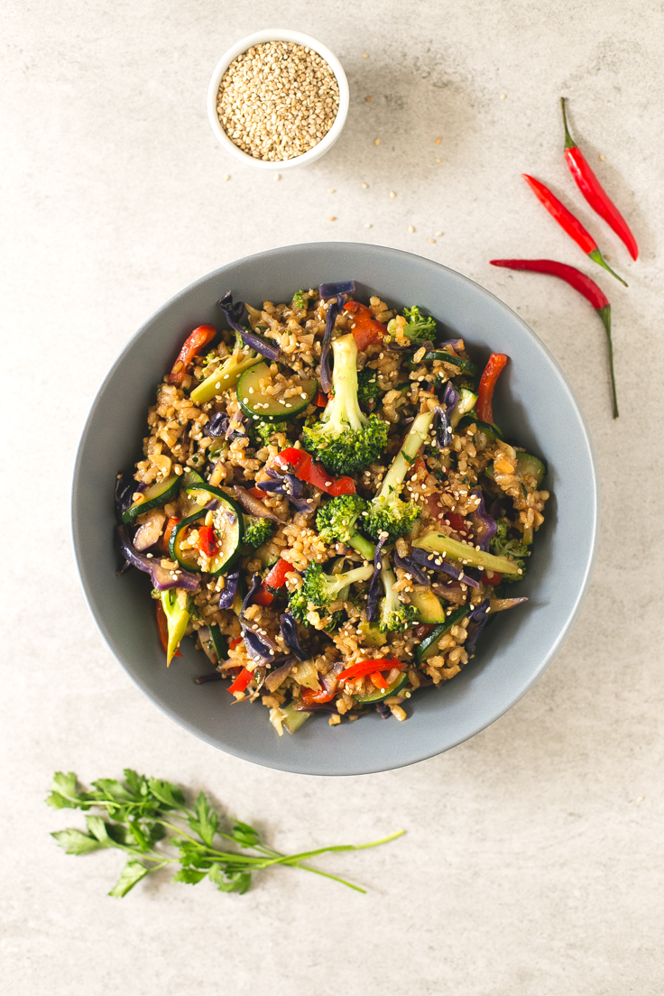 Brown Rice Stir-Fry with Vegetables