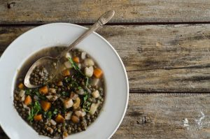 Lentil Stew with Winter Vegetables and Mustard Greens