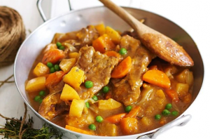 Slow-cooked lamb and chunky vegetable stew