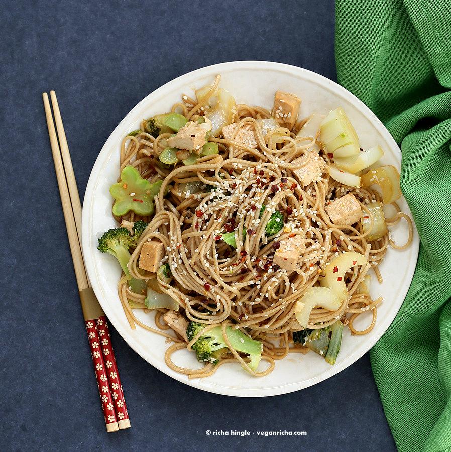 Tofu Broccoli Bok Choy Stir fry with Garlic Sesame Soy Sauce and Soba Noodles