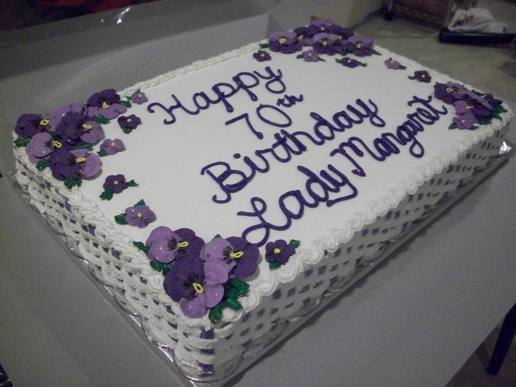 1/2 Sheet Cake  Pansy Birthday Cake