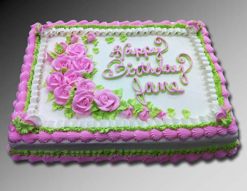 1/2 Sheet Cake  Pink Rose 1 2 Sheet Cake
