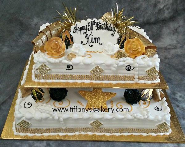 1/2 Sheet Cake  Gold Bling on 1 4 and 1 2 sheet cake – Tiffany s Bakery
