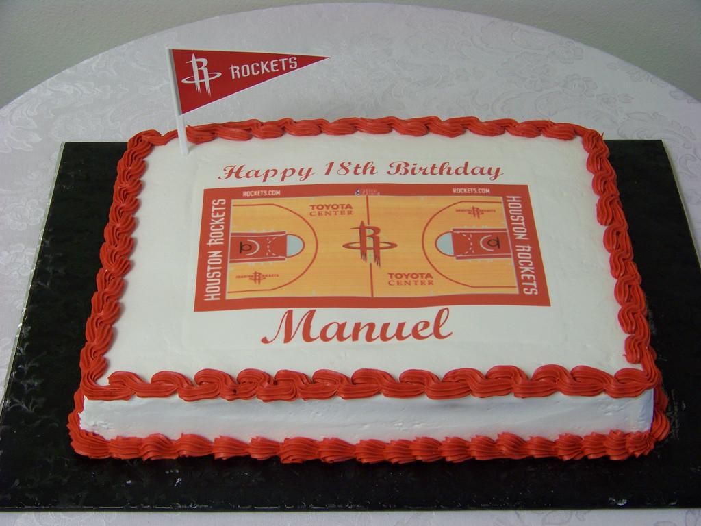 1/2 Sheet Cake  Rockets Fan Birthday Cake
