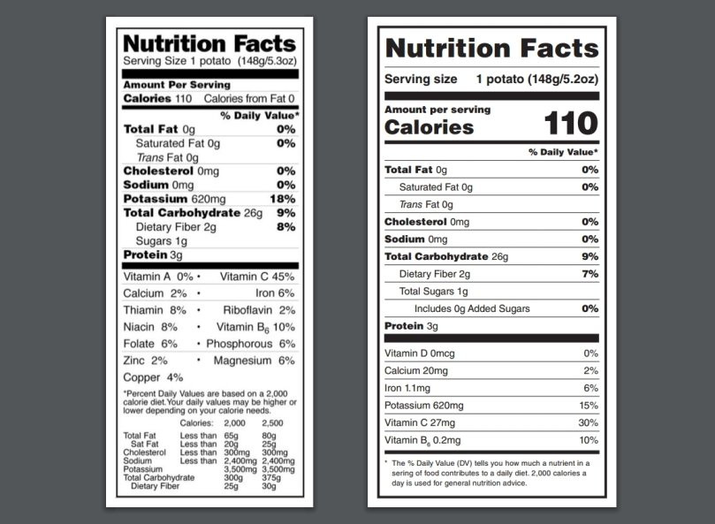 1 Potato Calories  New Potato Nutrition Facts Label in the United States