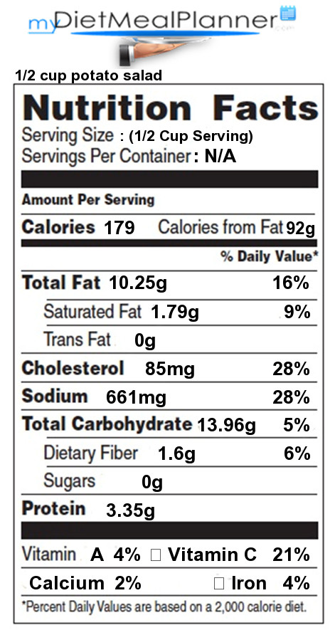 1 Potato Calories  Total Carbs in 1 2 cup potato salad Nutrition Facts for