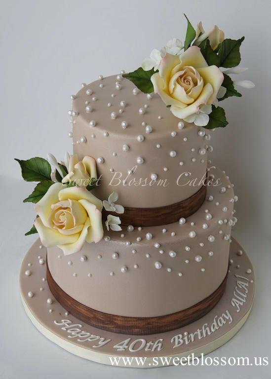 40Th Birthday Cake  Elegant 40th Birthday cake for a lady cake by Tatyana