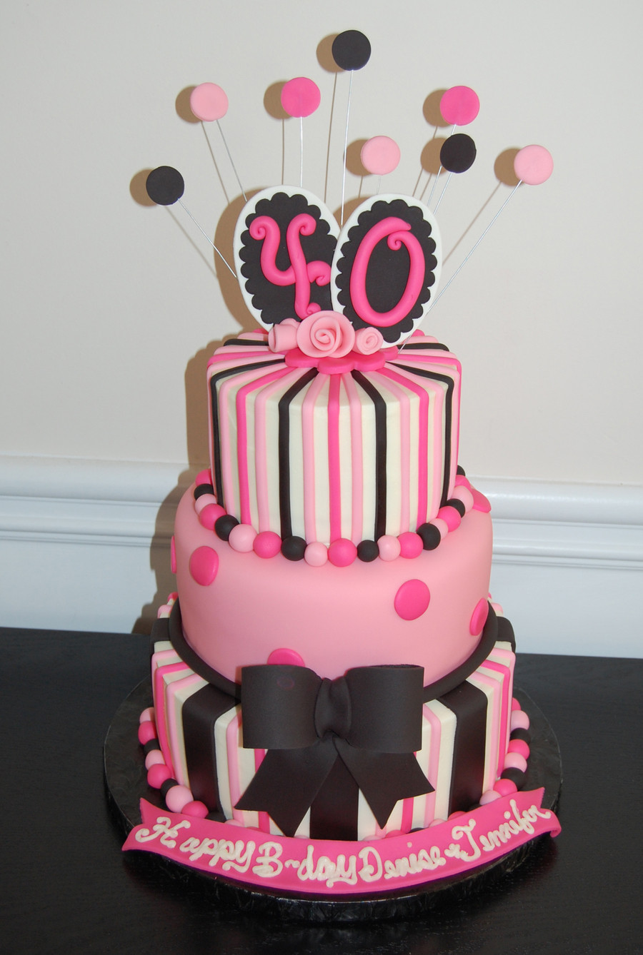 40Th Birthday Cake  40Th Birthday Cake Pink And Black CakeCentral