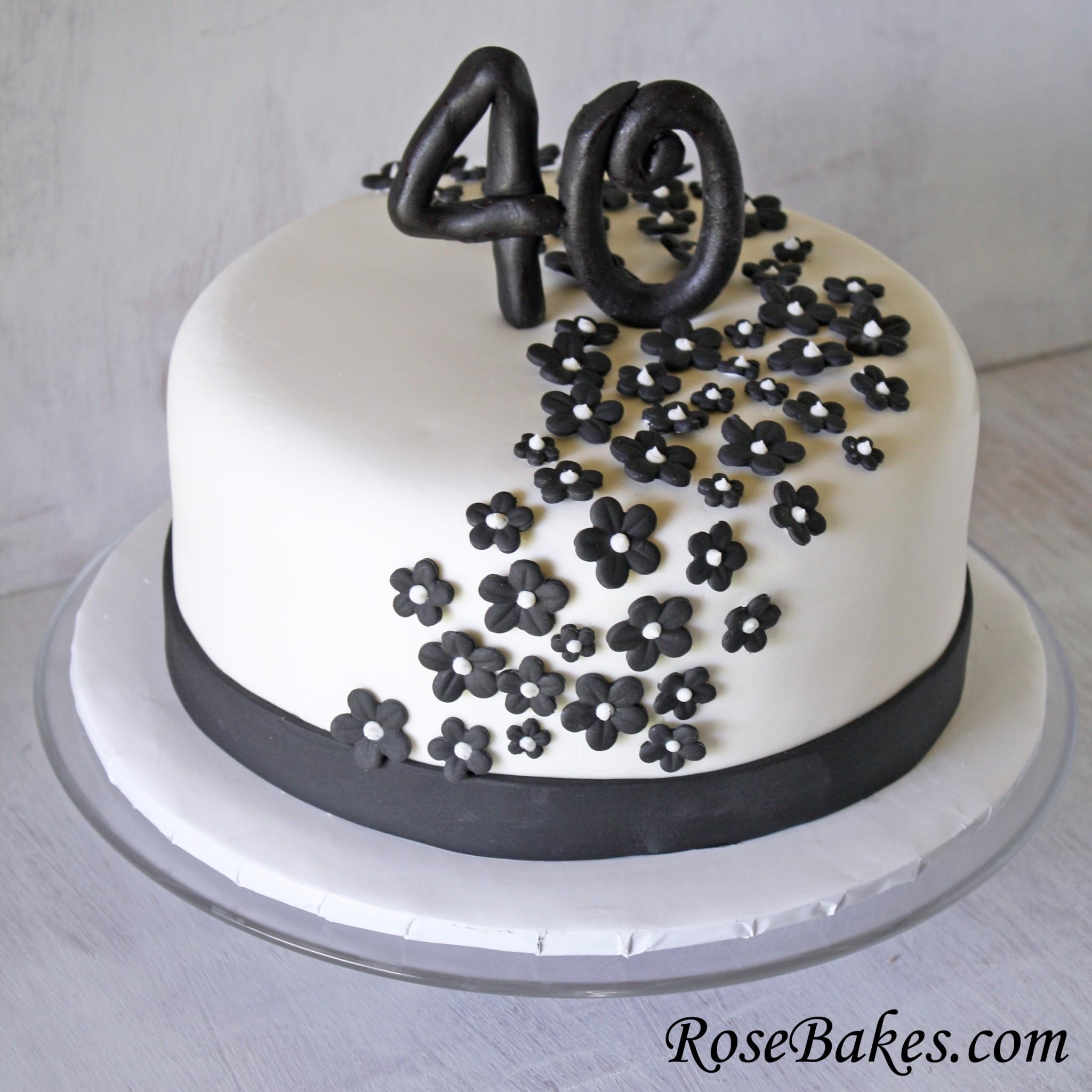40Th Birthday Cake  Black & White 40th Birthday Cake