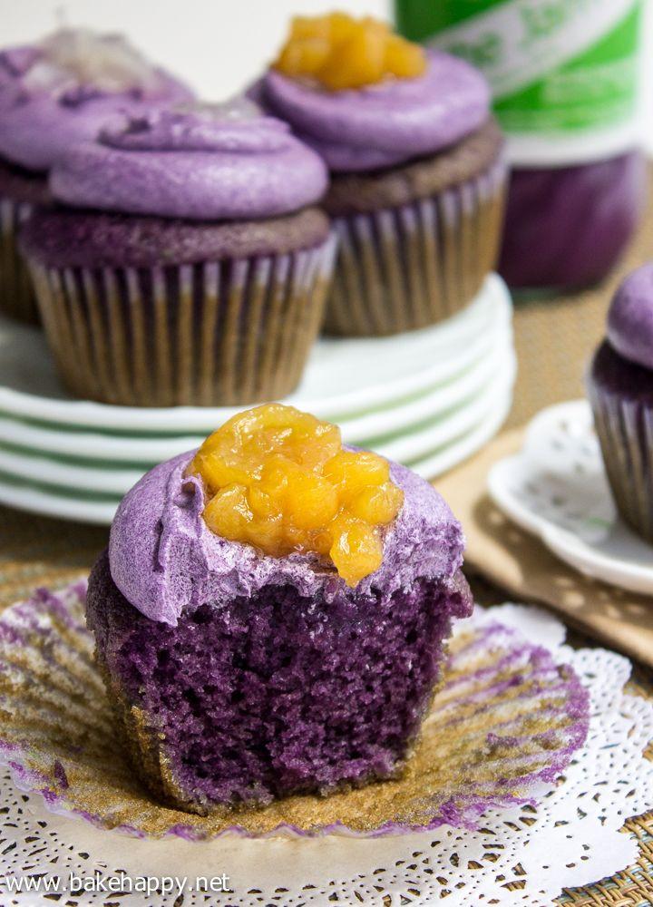 52 Filipino Desserts Recipes  Ube Macapuno Cupcakes Recipe so pretty with color