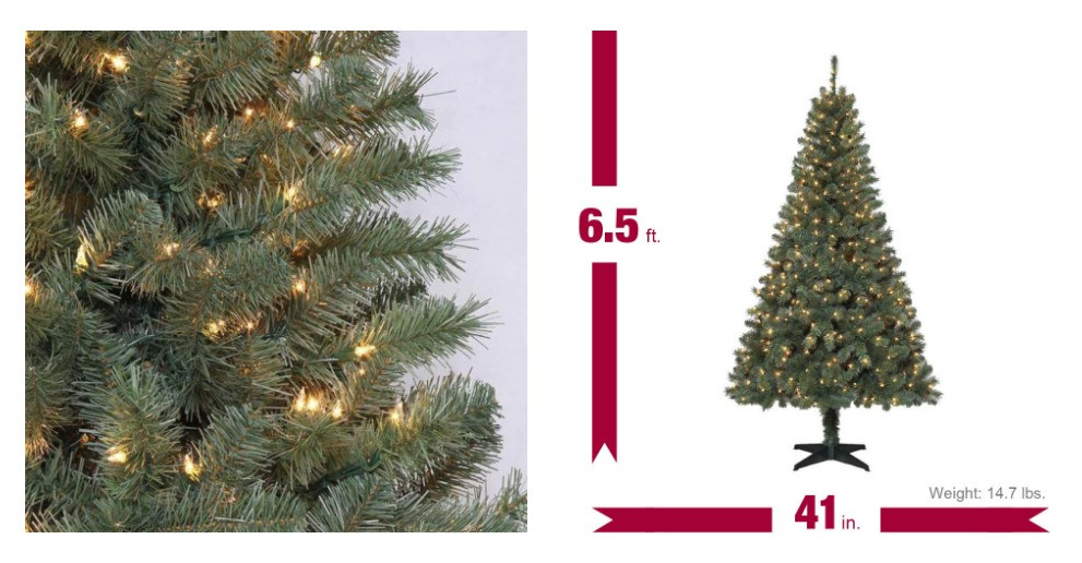 6.5 Ft. Verde Spruce Artificial Christmas Tree With 400 Clear Lights, Greens  Freebies2Deals