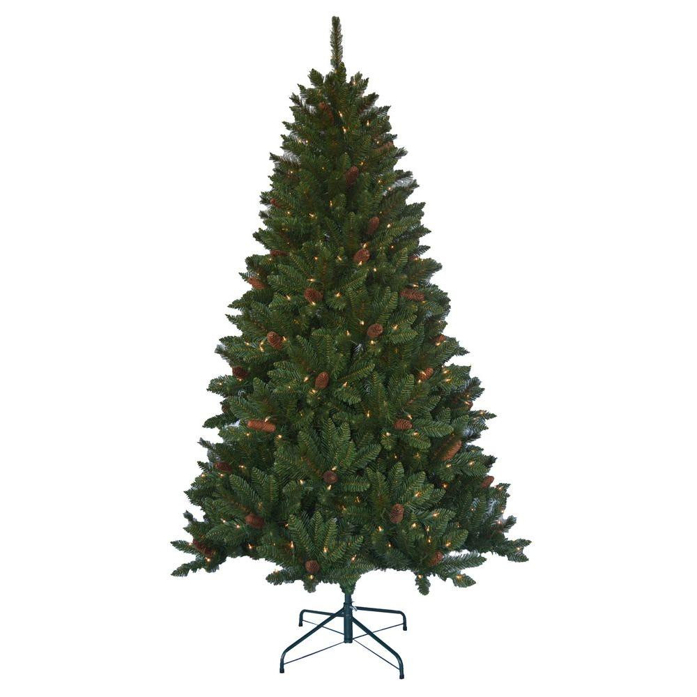 6.5 Ft. Verde Spruce Artificial Christmas Tree With 400 Clear Lights, Greens  Home Accents Holiday 6 5 ft Pre lit Jackson Spruce