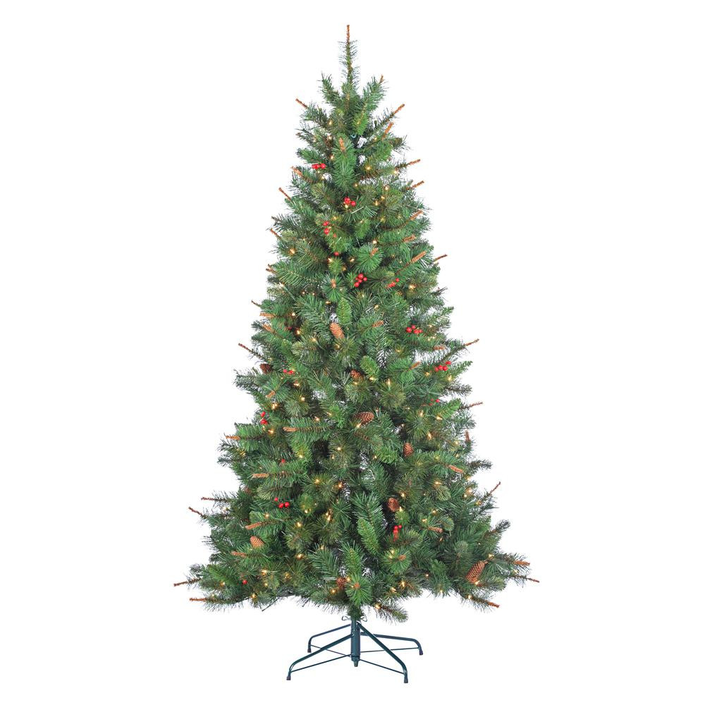 6.5 Ft. Verde Spruce Artificial Christmas Tree With 400 Clear Lights, Greens  Sterling 6 5 ft Indoor Pre Lit Hard Mixed Needle Black