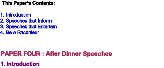 After Dinner Speech  After Dinner Speeches on Rochford Life Magazine