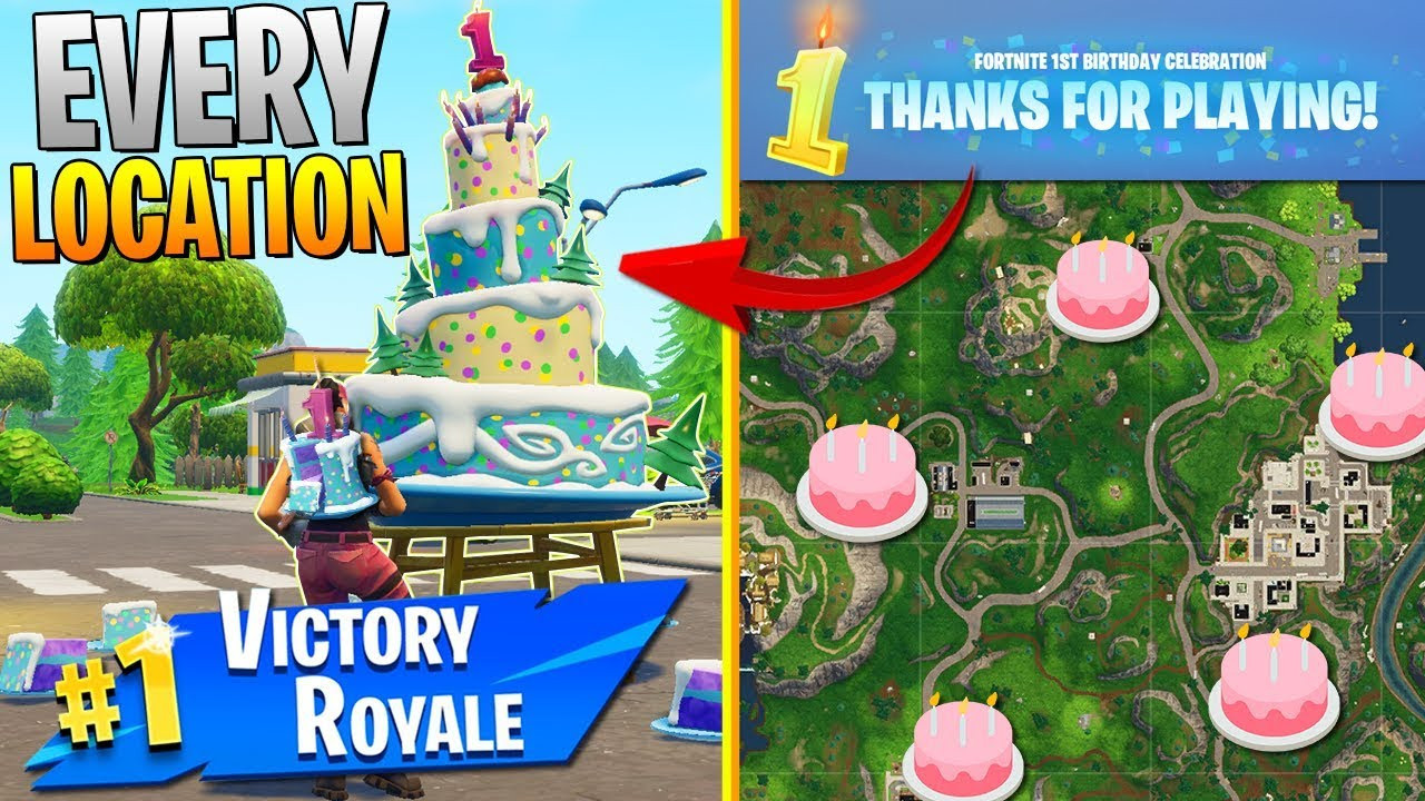 """All Birthday Cake Locations  """"Dance in front of different birthday cakes"""" ALL CAKE"""