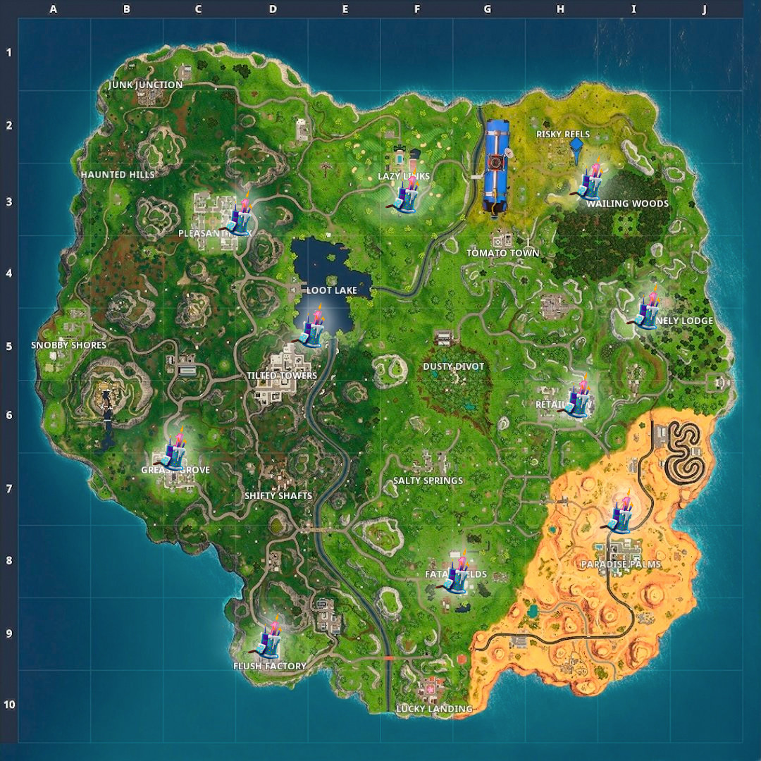 All Birthday Cake Locations  Fortnite Birthday Cake Locations Guide Where To Dance For