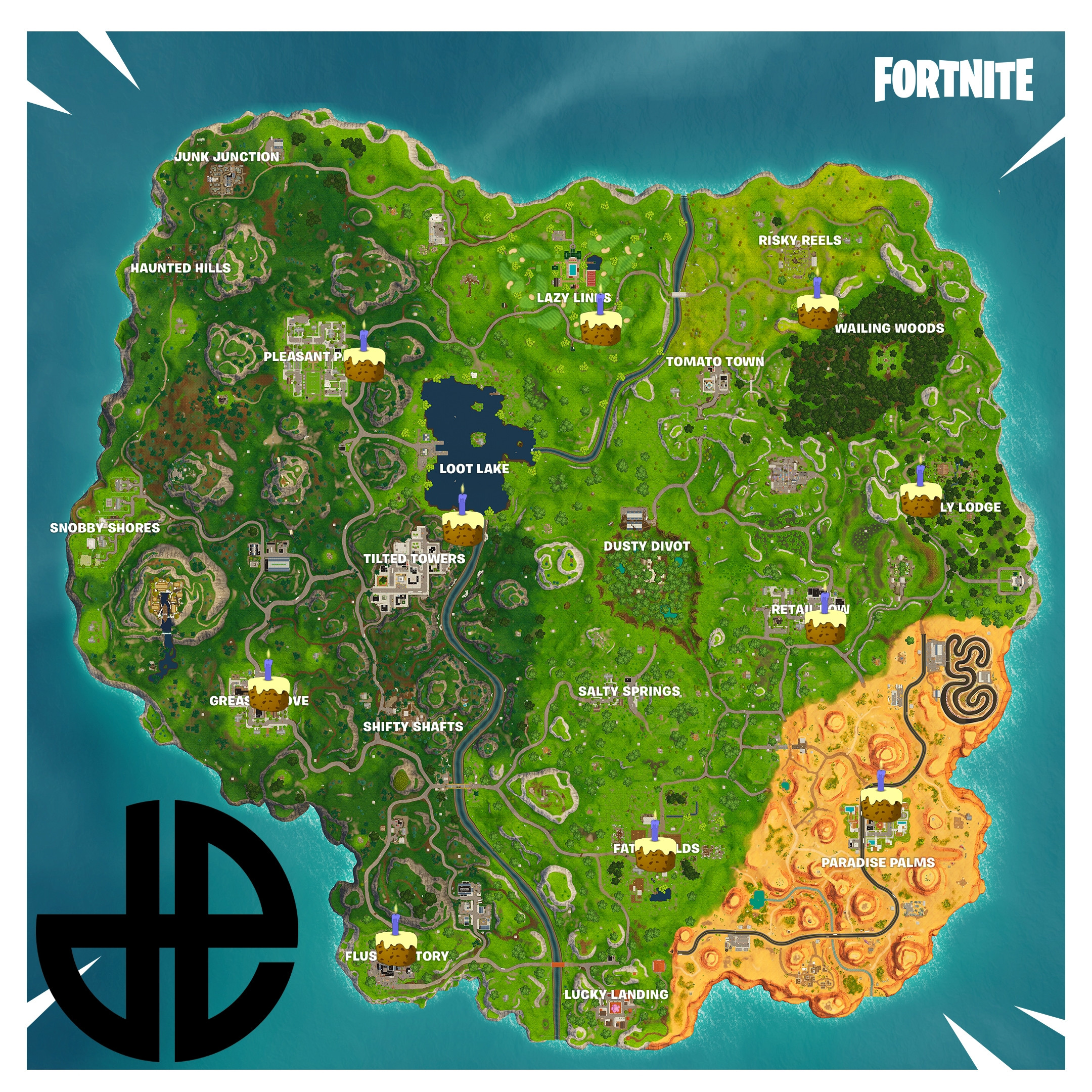 All Birthday Cake Locations  All Known Birthday Cake Locations for the Fortnite Battle