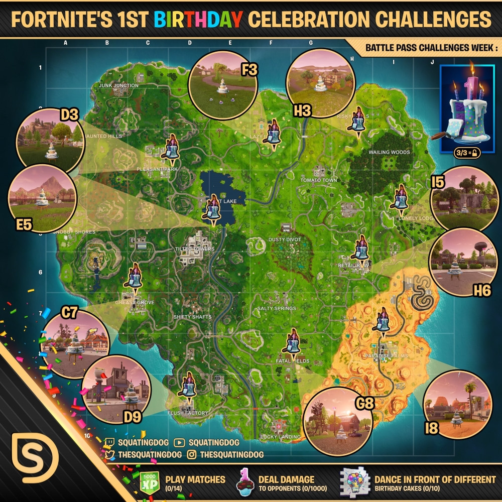 All Birthday Cake Locations  Fortnite All Birthday Cake locations Dance in front of