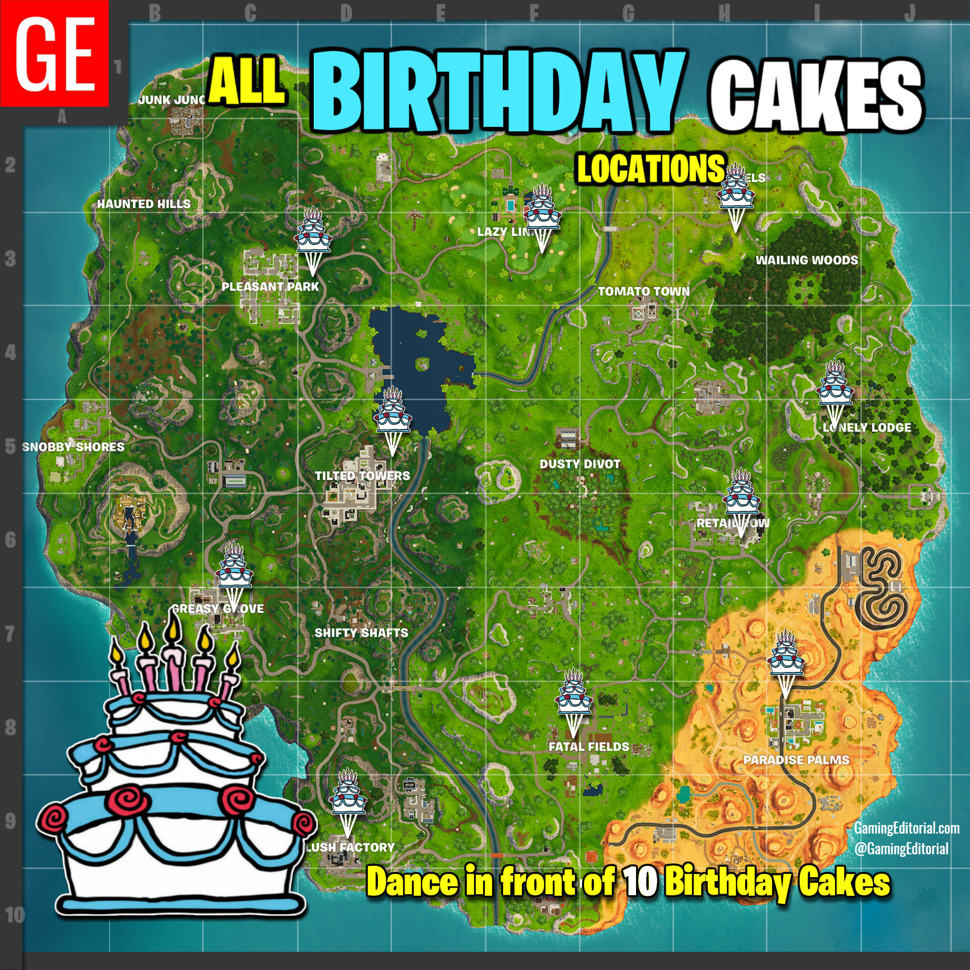 All Birthday Cake Locations  Fortnite All Locations Map Dance at Different Birthday