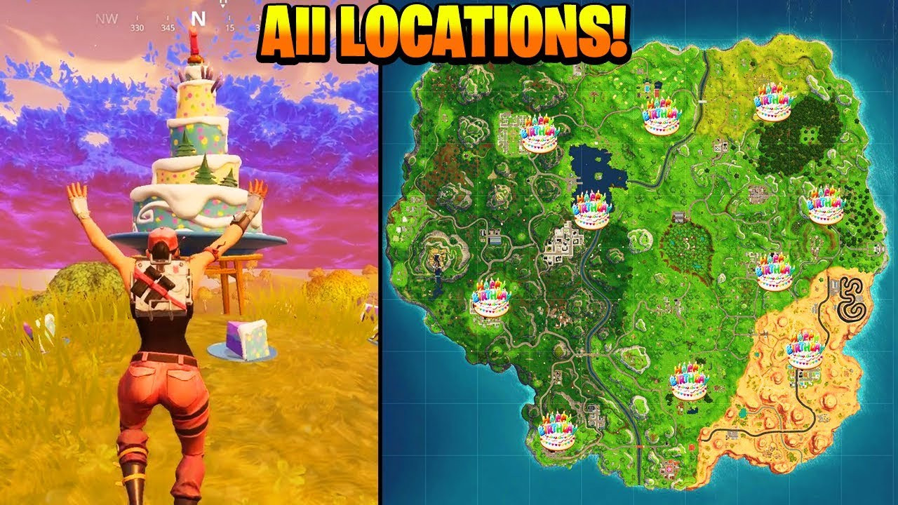 """All Birthday Cake Locations  """"Dance in front of different Birthday Cakes"""" ALL LOCATIONS"""