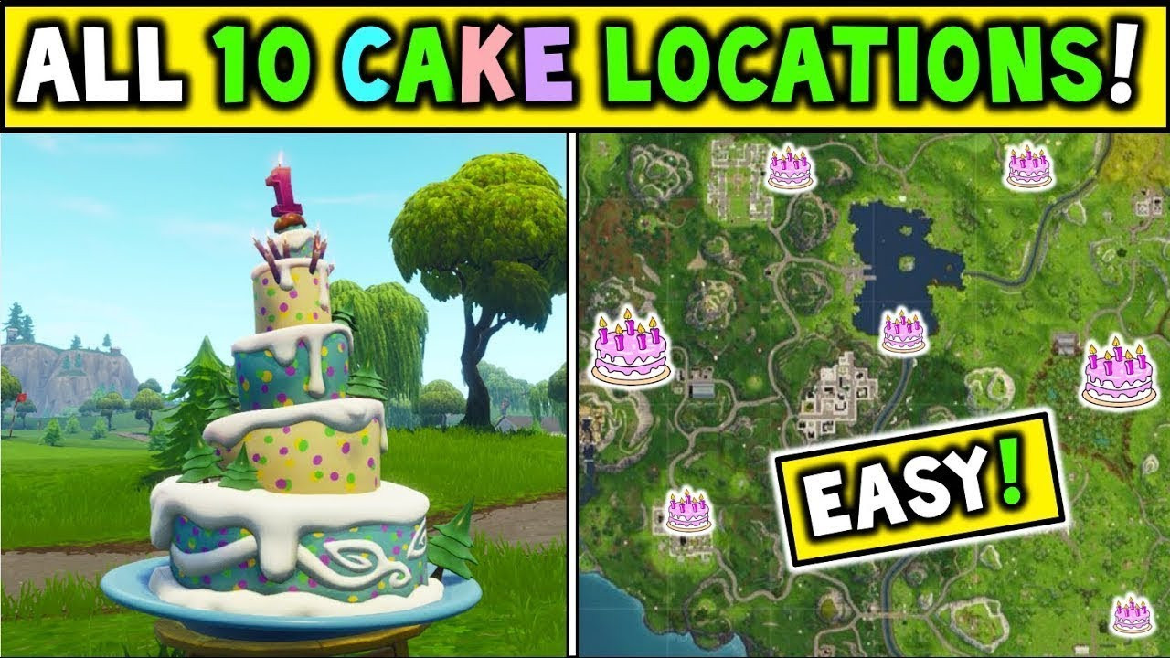 """All Birthday Cake Locations  ALL 10 BIRTHDAY CAKE LOCATIONS """"Dance In Front"""