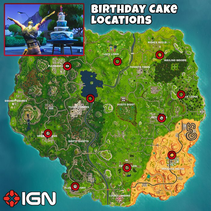 All Birthday Cake Locations  Fortnite Birthday Challenges Dance in Front of Different