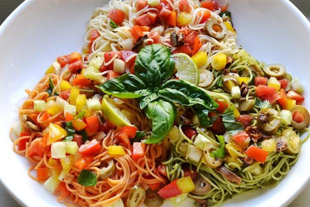 Angel Hair Pasta Salad  Tri Colored Angel Hair Pasta Salad – eRecipe