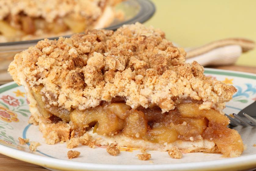 Apple Pie With Crumble Topping  Crumb topped apple pie with caramel sauce