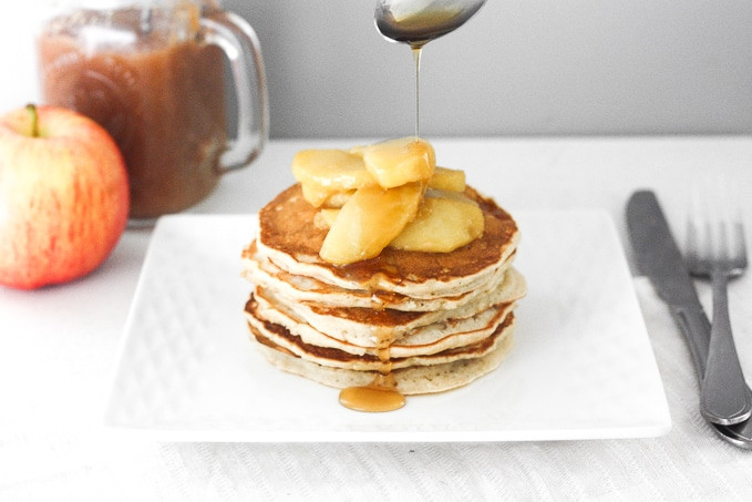 Apple Topping For Pancakes  Applesauce Pancakes with Caramel Apple Topping