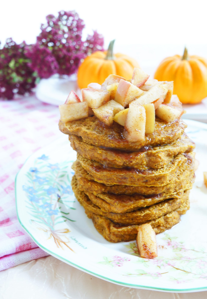 Apple Topping For Pancakes  Haute & Healthy Living Pumpkin Spice Pancakes with Maple