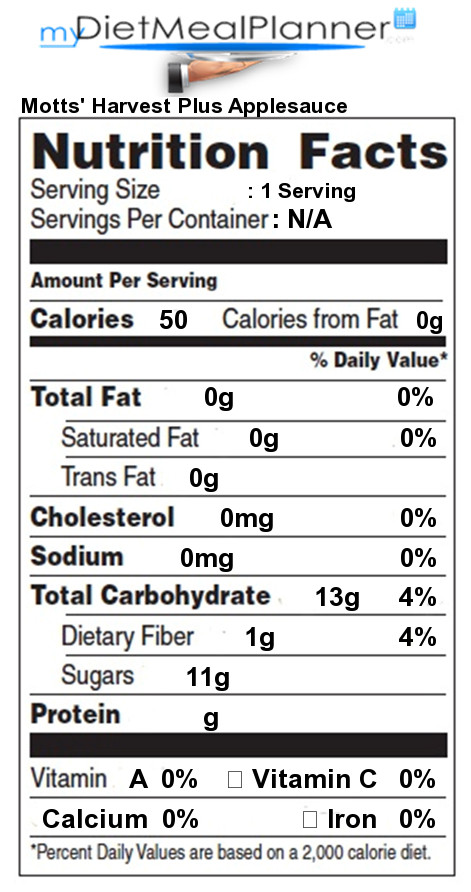 Applesauce Nutrition Facts  Motts Harvest Plus Applesauce