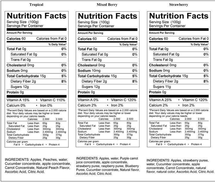 Applesauce Nutrition Facts  strawberry applesauce nutrition