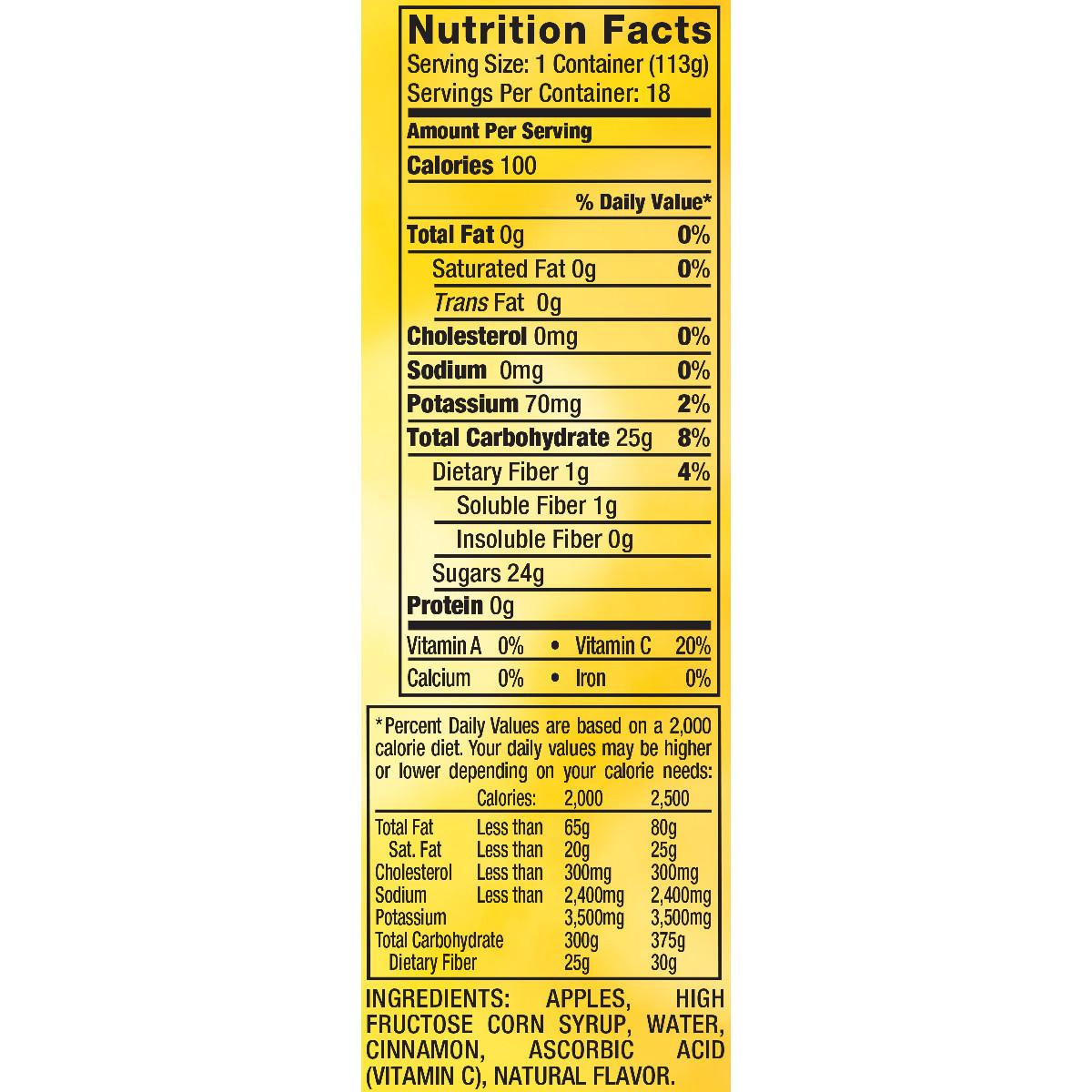 Applesauce Nutrition Facts  Mott S Cinnamon Applesauce Nutrition Facts Nutrition Ftempo