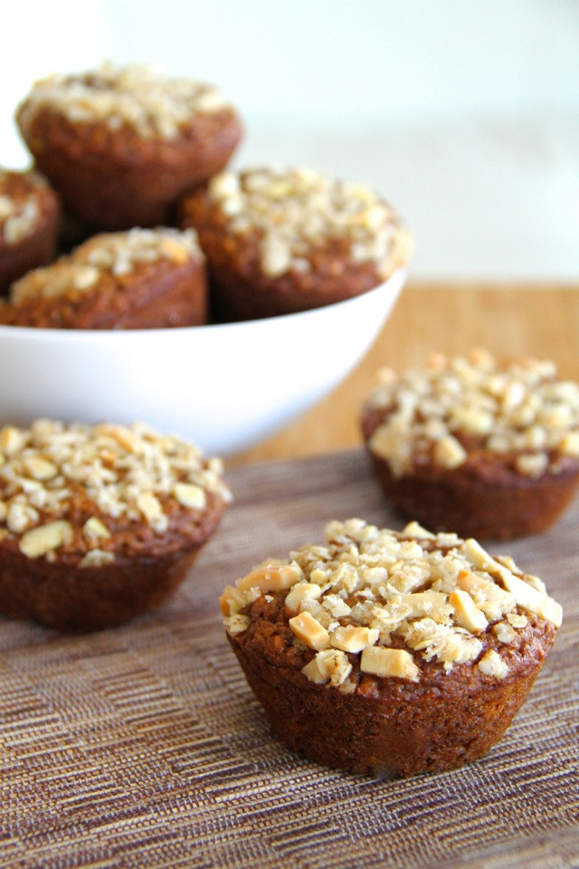 Applesauce Oatmeal Muffins  applesauce oatmeal muffins running with spoons