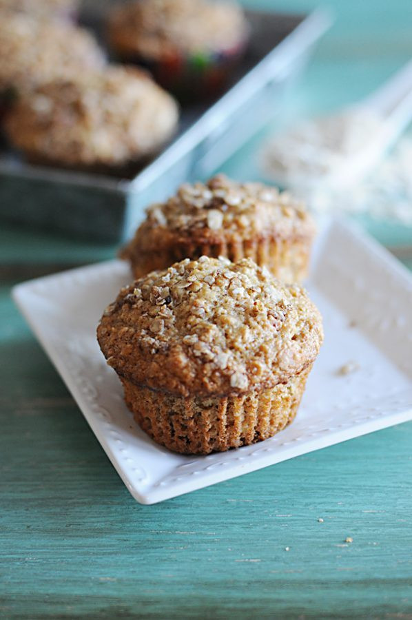 Applesauce Oatmeal Muffins  Applesauce Oatmeal Streusel Muffins from Dine and Dish