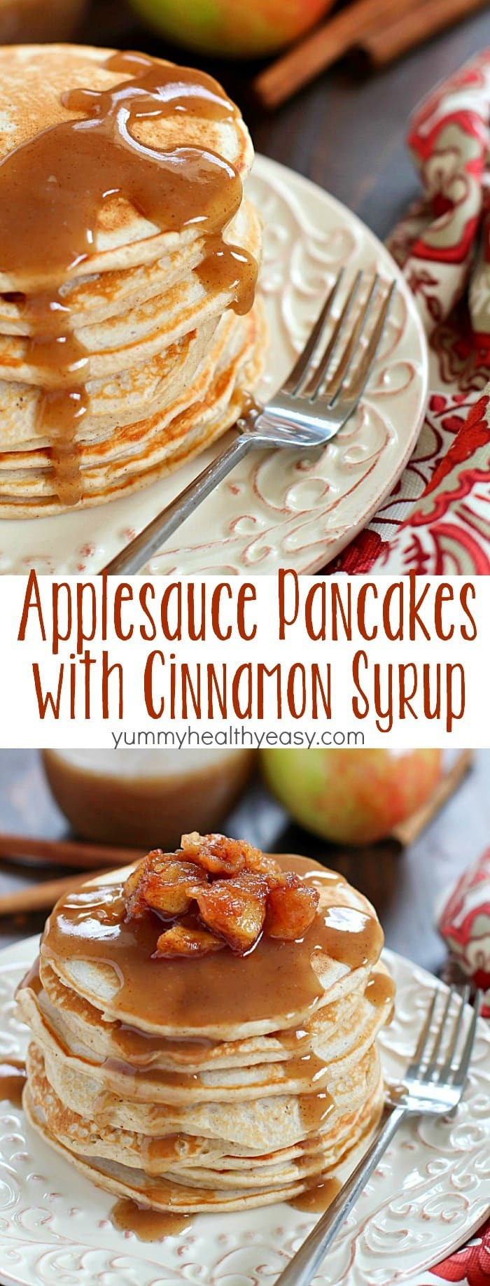 Are Pancakes Healthy  Applesauce Pancakes with Cinnamon Syrup Yummy Healthy Easy
