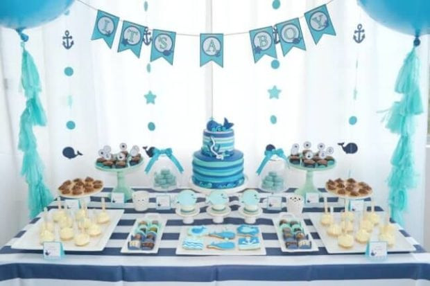 Baby Shower Dessert Table Ideas  A Boy's Whale Themed Baby Shower Spaceships and Laser Beams