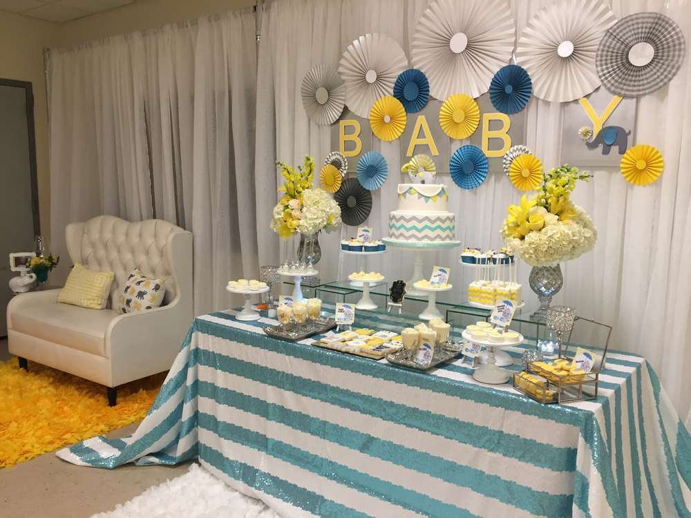 Baby Shower Dessert Table Ideas  Glam Elephant Baby Shower Baby Shower Ideas Themes Games