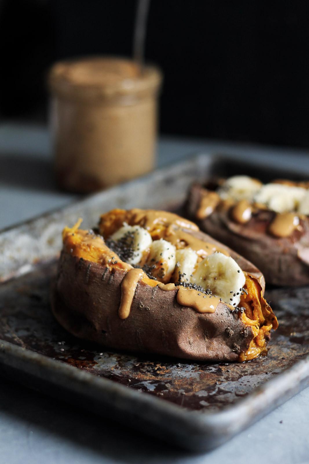Baked Breakfast Potatoes  Breakfast Baked Sweet Potatoes with Almond Butter
