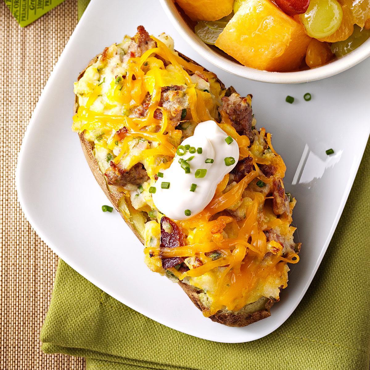 Baked Breakfast Potatoes  Twice Baked Breakfast Potatoes for Two Recipe