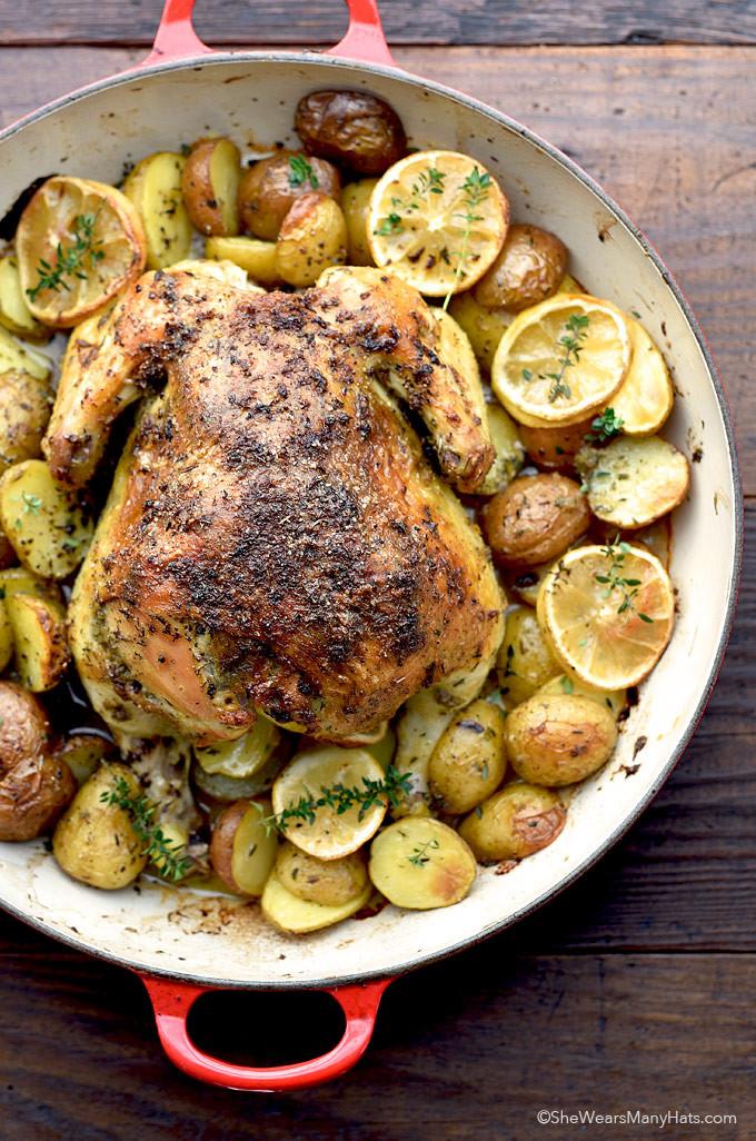 Baked Lemon Garlic Chicken  Roasted Garlic Lemon Chicken and Potatoes Recipe