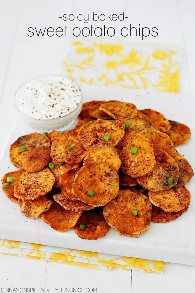 Baked Sweet Potato Chips  spicy sweet potato chips