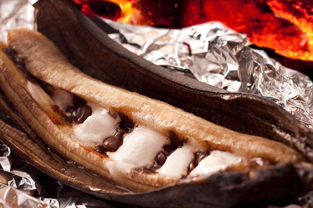 Banana Boat Dessert  Campfire Banana Boat Recipe Chowhound