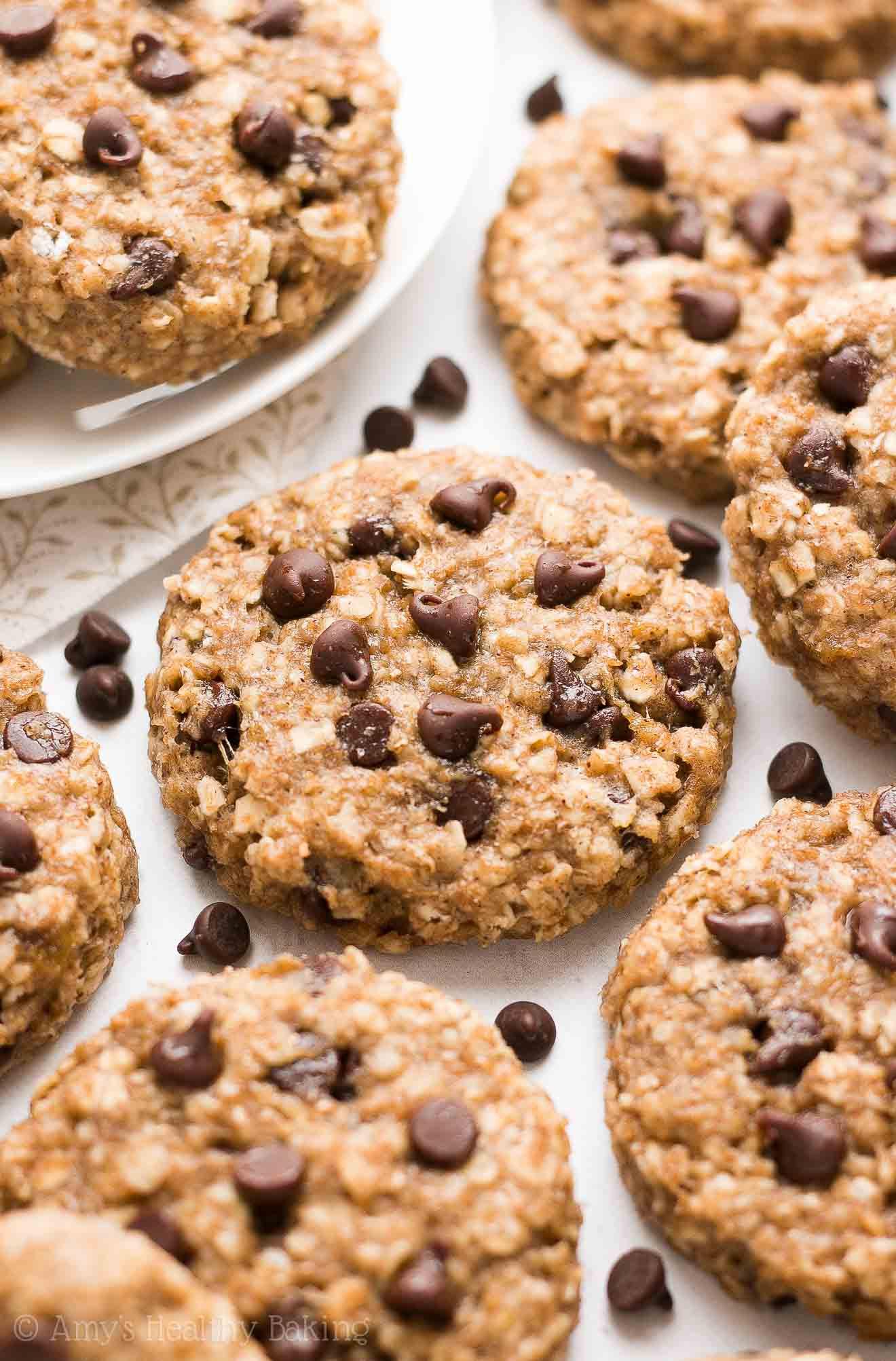 Banana Oatmeal Breakfast Cookies  Healthy Chocolate Chip Banana Oatmeal Breakfast Cookies