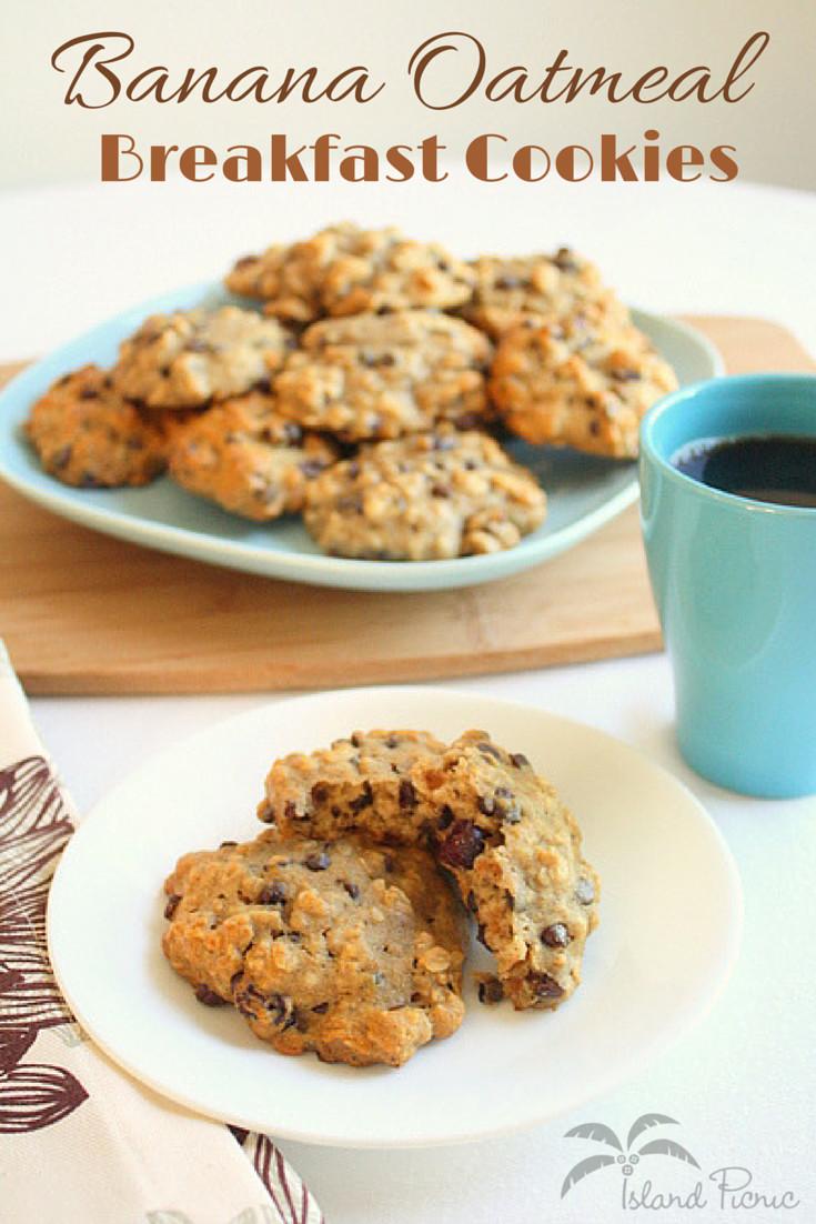 Banana Oatmeal Breakfast Cookies  Banana Oatmeal Breakfast Cookies — Healthy & Vegan