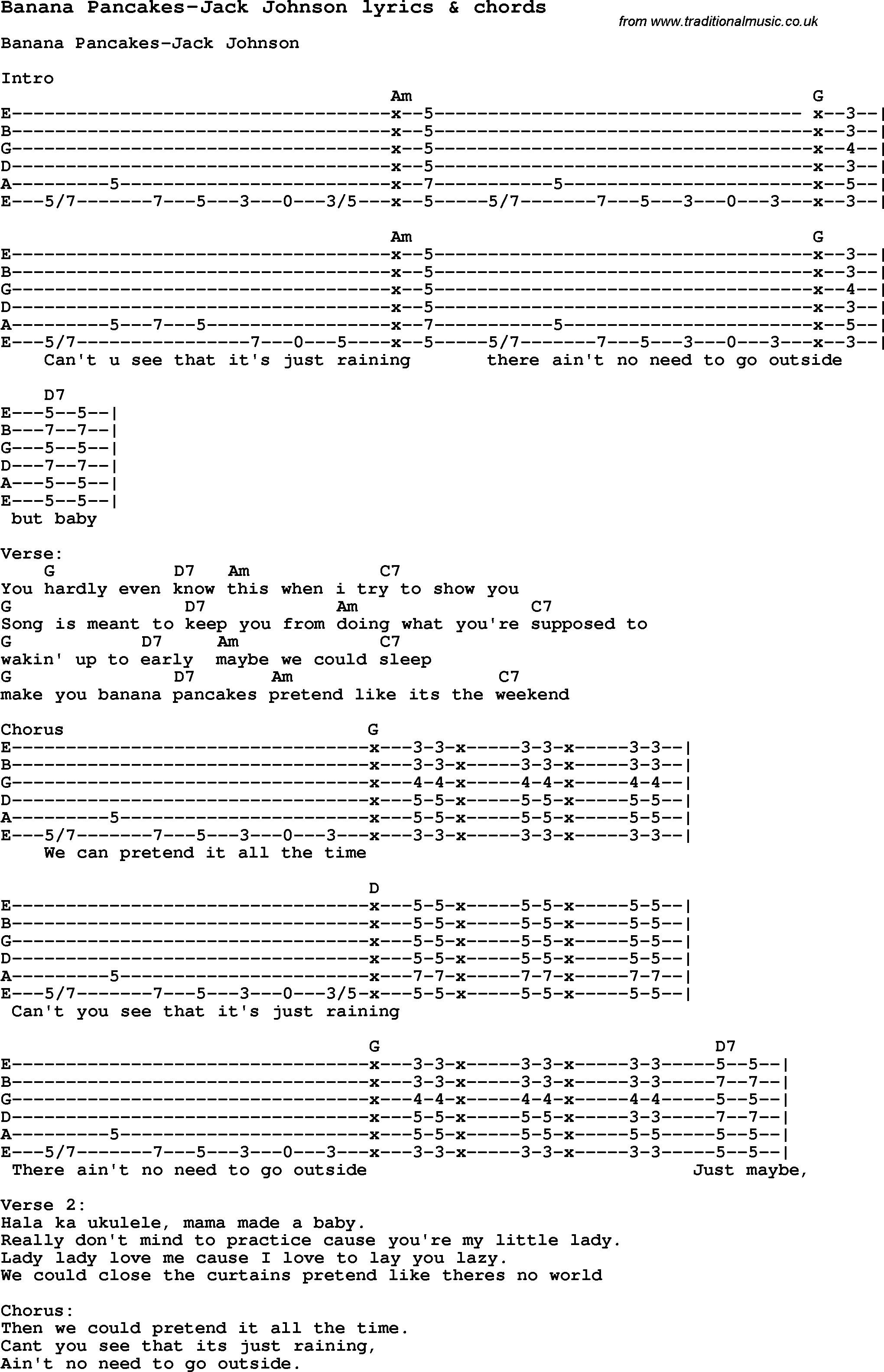 Banana Pancakes Ukulele Chords  Love Song Lyrics for Banana Pancakes Jack Johnson with chords