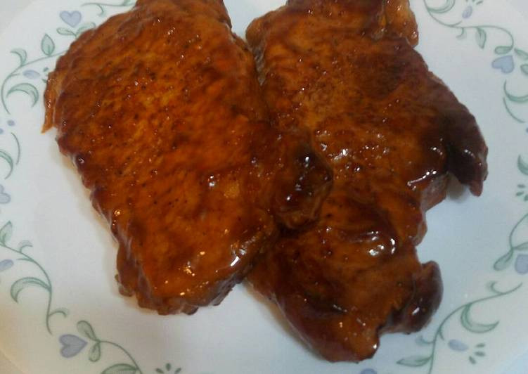 Bbq Pork Chops Oven  Oven Baked BBQ pork chops Recipe by The Hungry Housewife