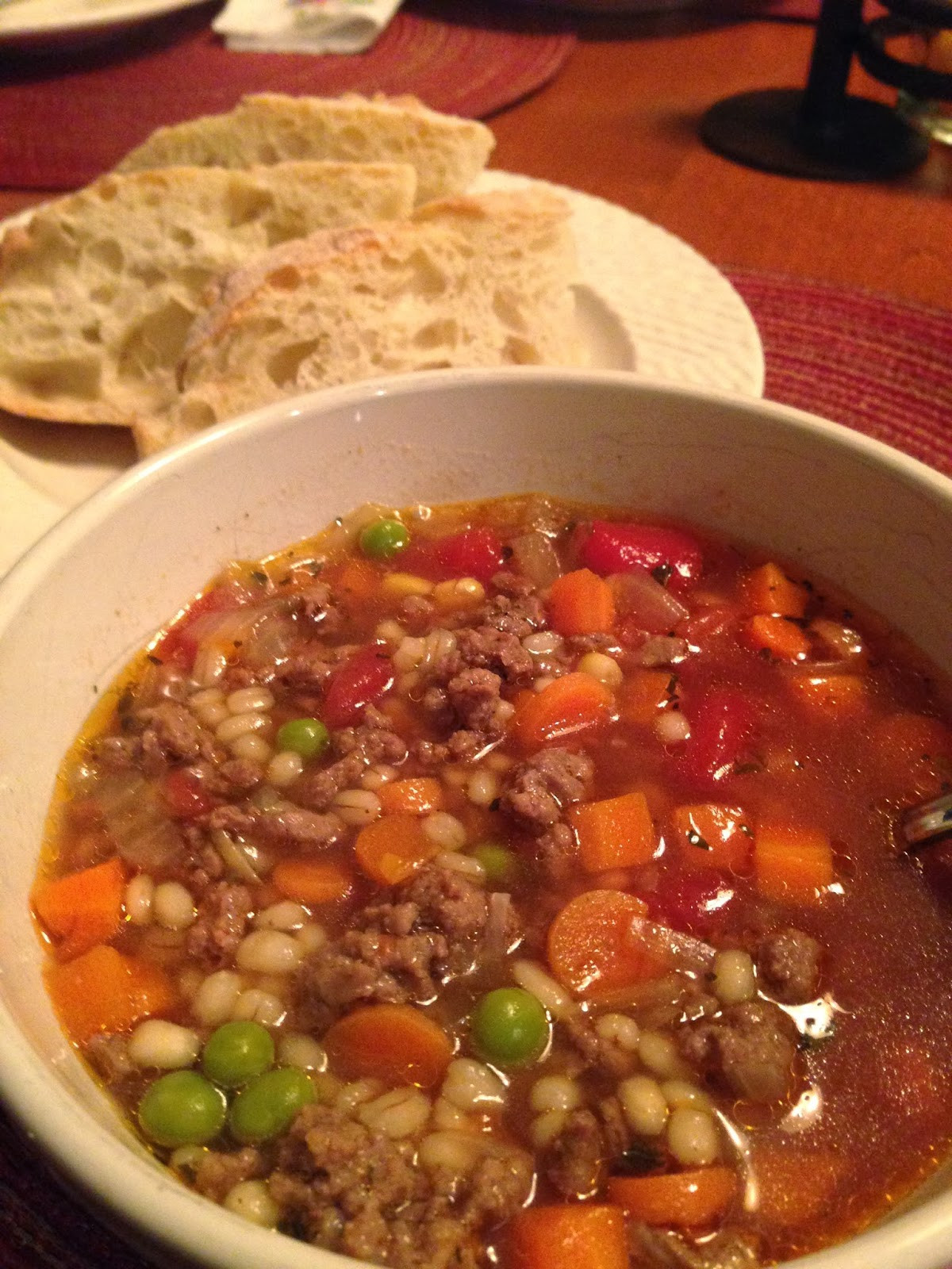 Beef Barley Vegetable Soup  Posted byKristin and Adriana at 7 23 AM